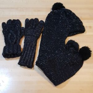 Black White /& Gray NEW Pom Pom Hat and Scarf JOE BOXER Women/'s 2 Piece Set